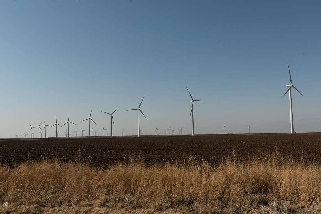 Wind farm near Snyder in Scurry County in west-central Texas