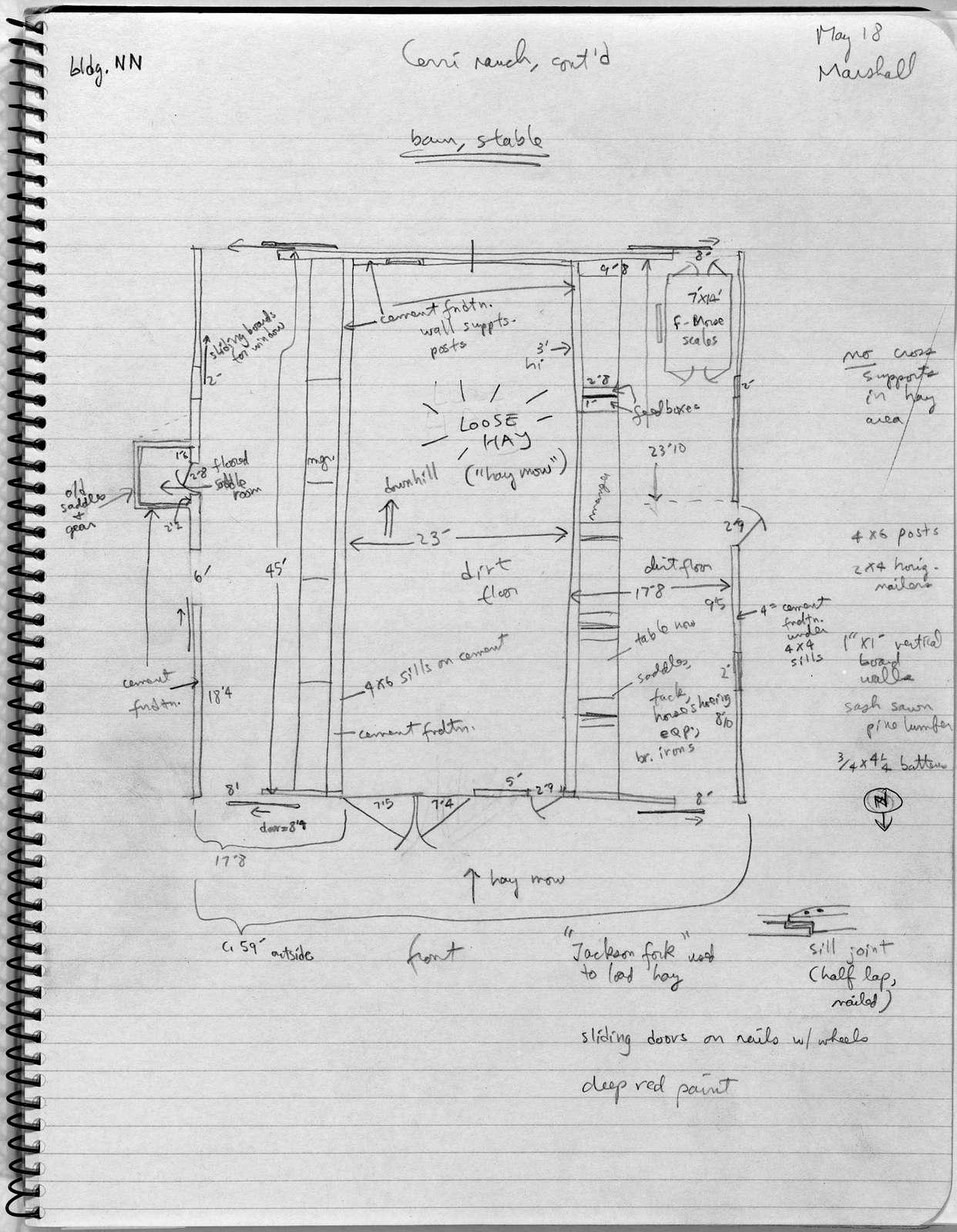 Barn Plan, Cerri (Wallace) Ranch