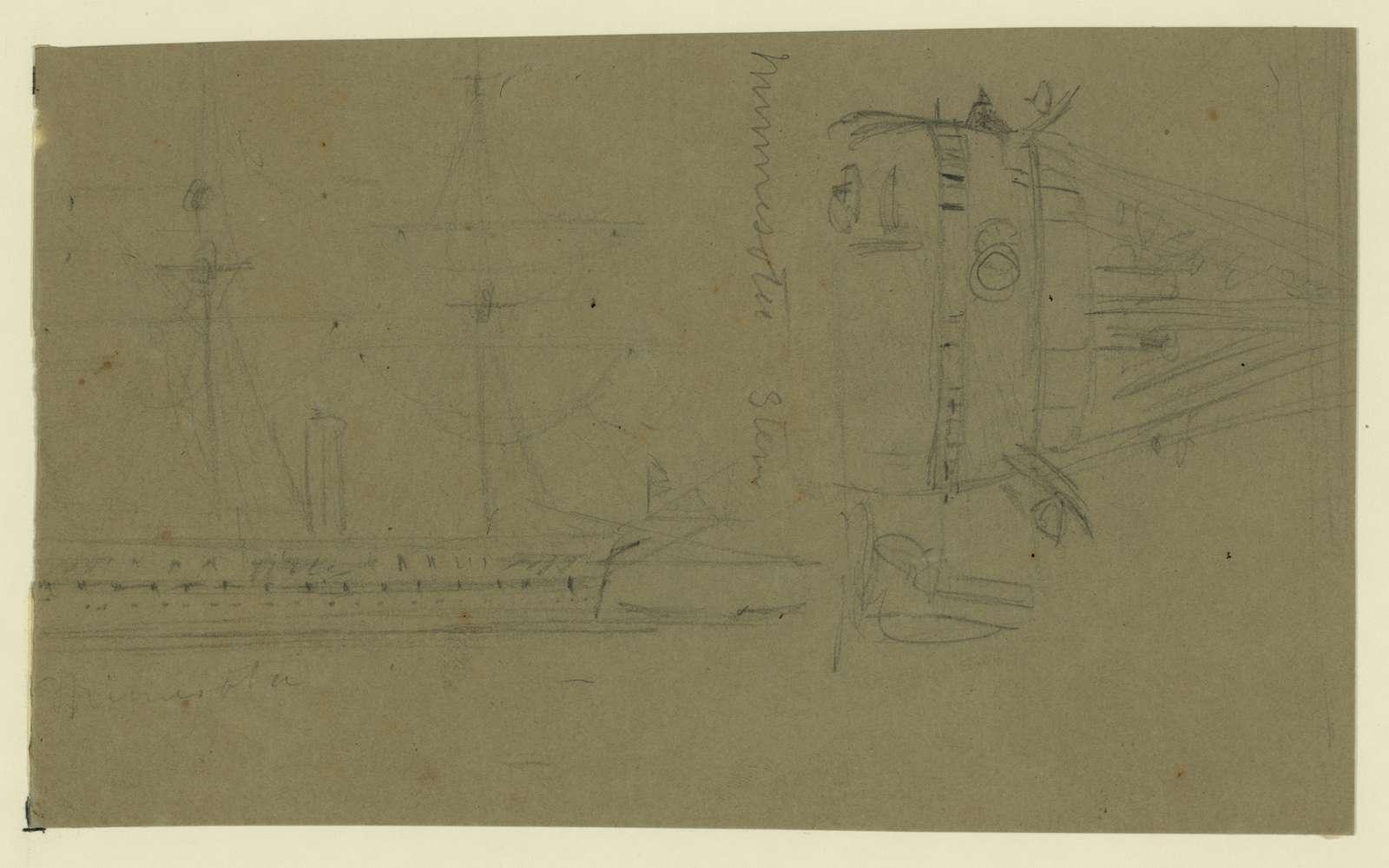 [Broadside and stern views of steamship Minnesota]