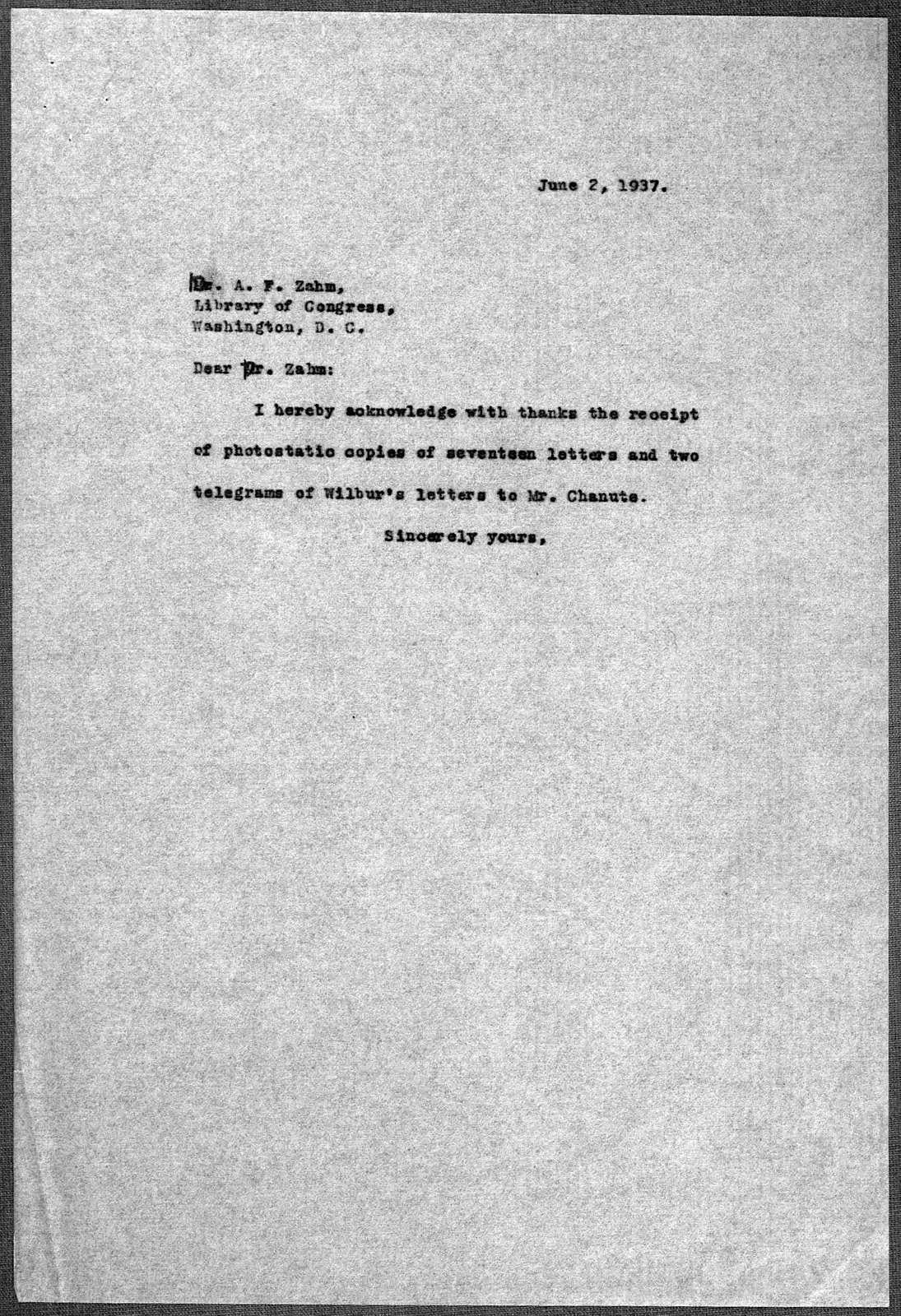 General Correspondence:  Zahm, Albert F., 1937-1943, undated