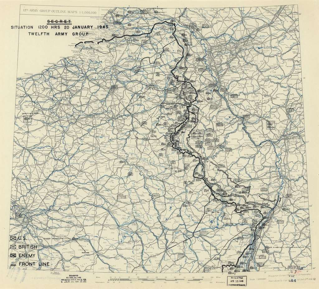 [January 20, 1945], HQ Twelfth Army Group situation map.