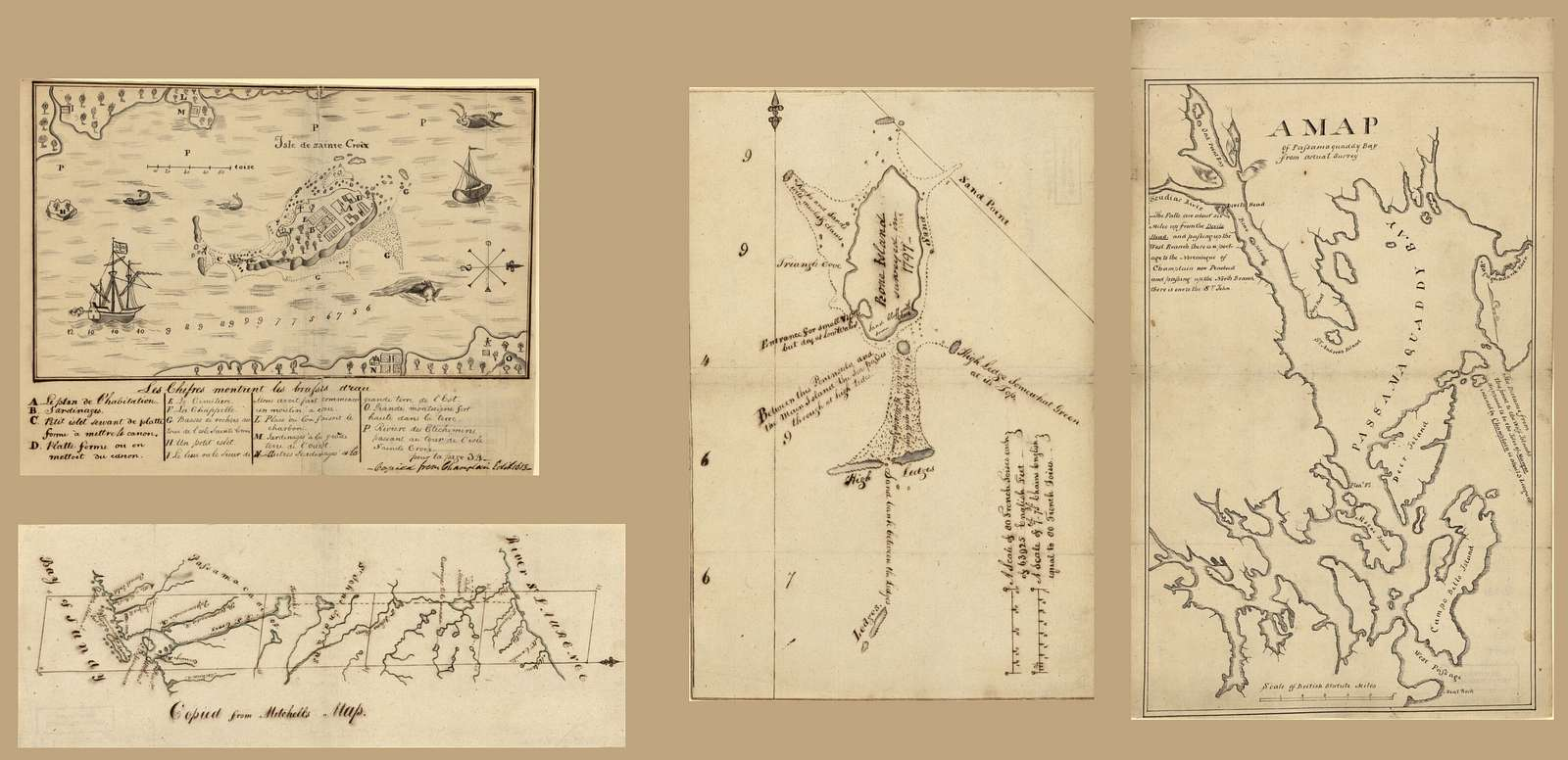 [Manuscript maps that were assembled by Egbert Benson and sent in 1802 to Rufus King, United States minister to Great Britain, in order to facilitate negotiations over disputed international boundary between Maine and New Brunswick].