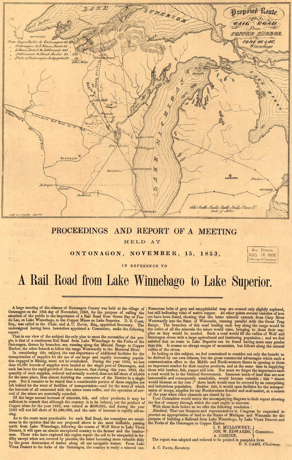 Proposed route for a rail road from Copper Harbor, to Fond Du Lac, Winnebego.
