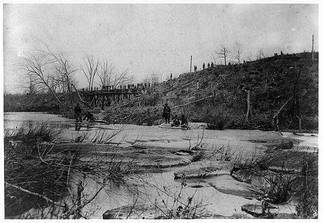 Repairing Bull Run Bridge. Construction Corps U.S.M.R. Rds.