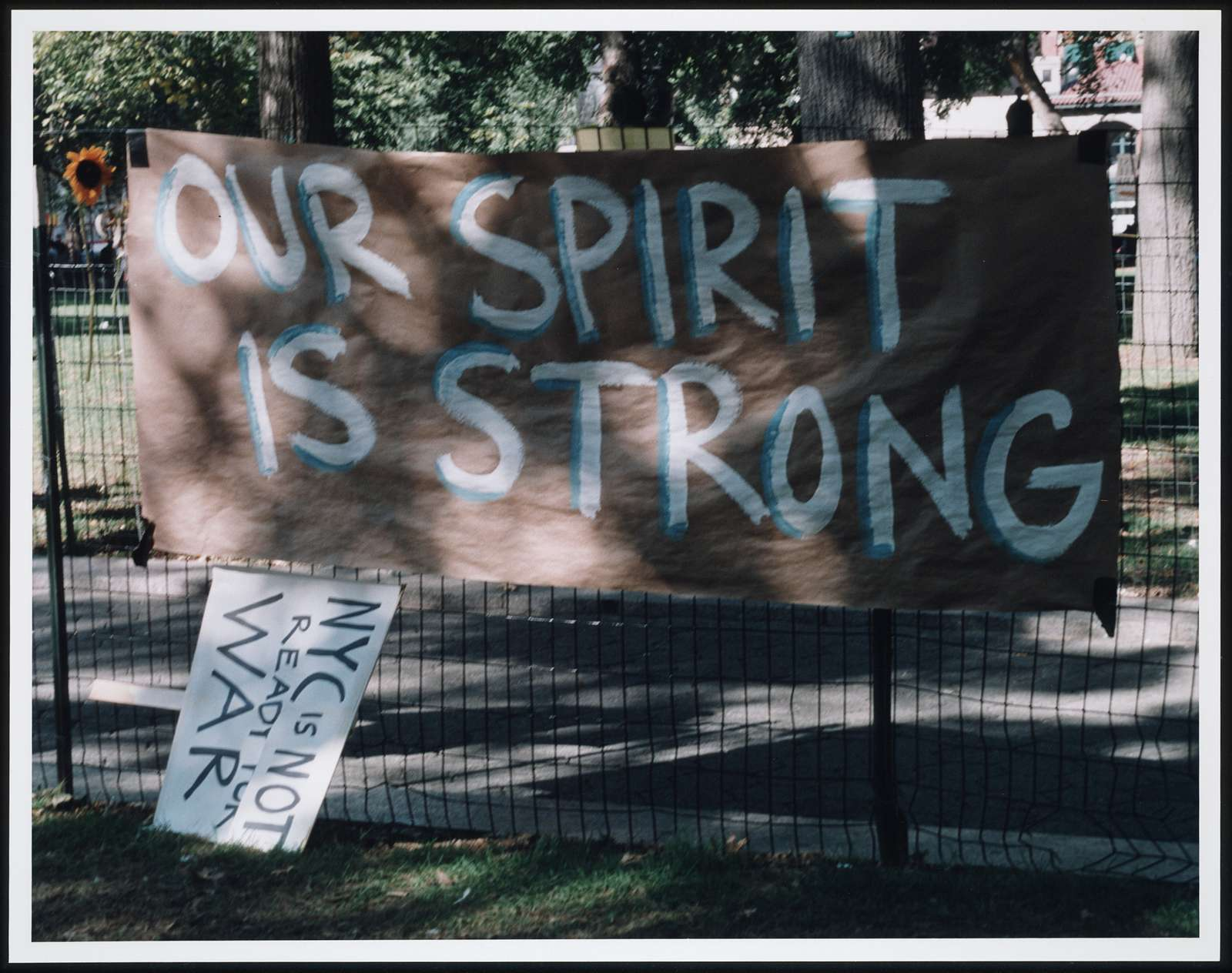 [Signs responding to the terrorist attack on the World Trade Center, New York City, September 11, 2001]