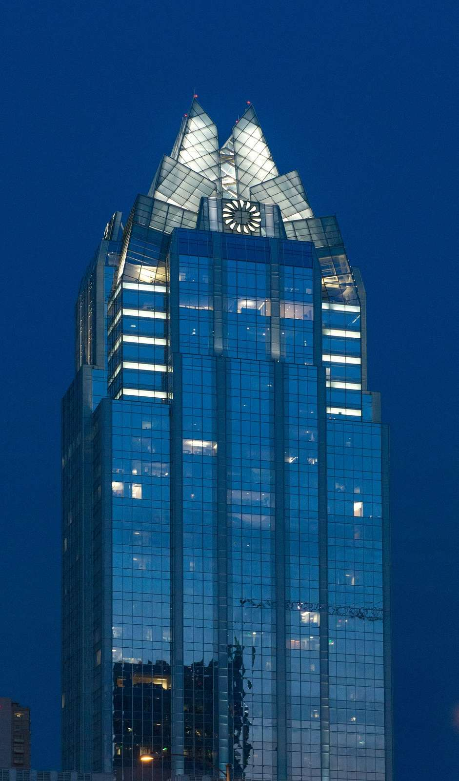 The upper reaches of Frost Bank Tower, a prominent Austin, Texas, skyscraper