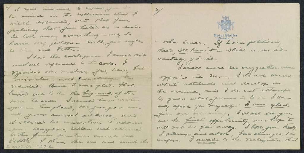Warren G. Harding-Carrie Fulton Phillips Correspondence: Correspondence and drafts of correspondence; 1914
