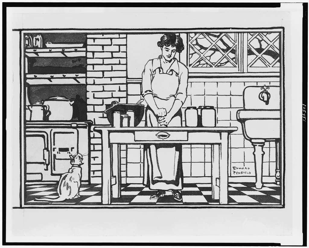 [Woman removing jar lid in kitchen] / Edward Penfield.