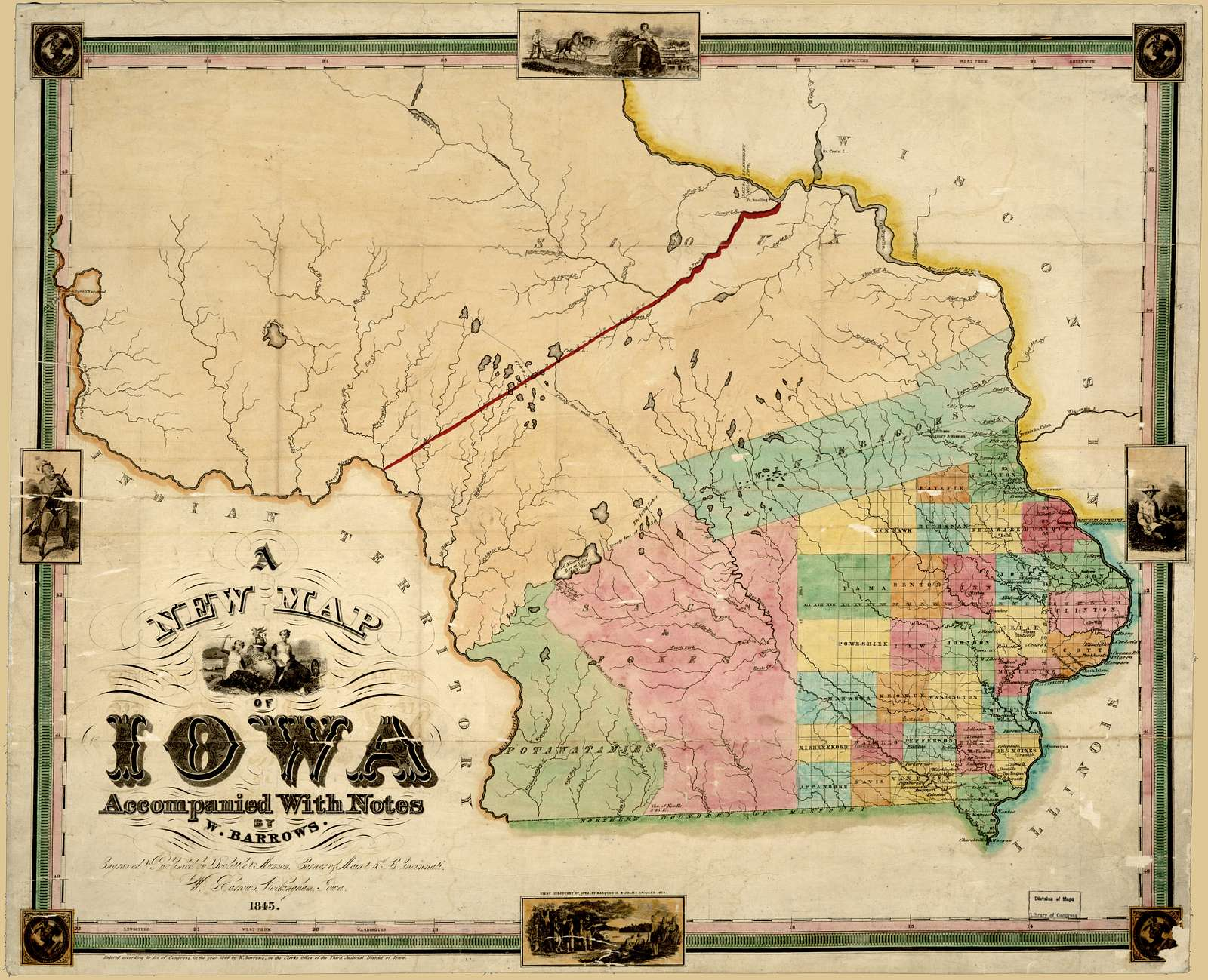 A new map of Iowa : accompanied with notes by W. Barrows /
