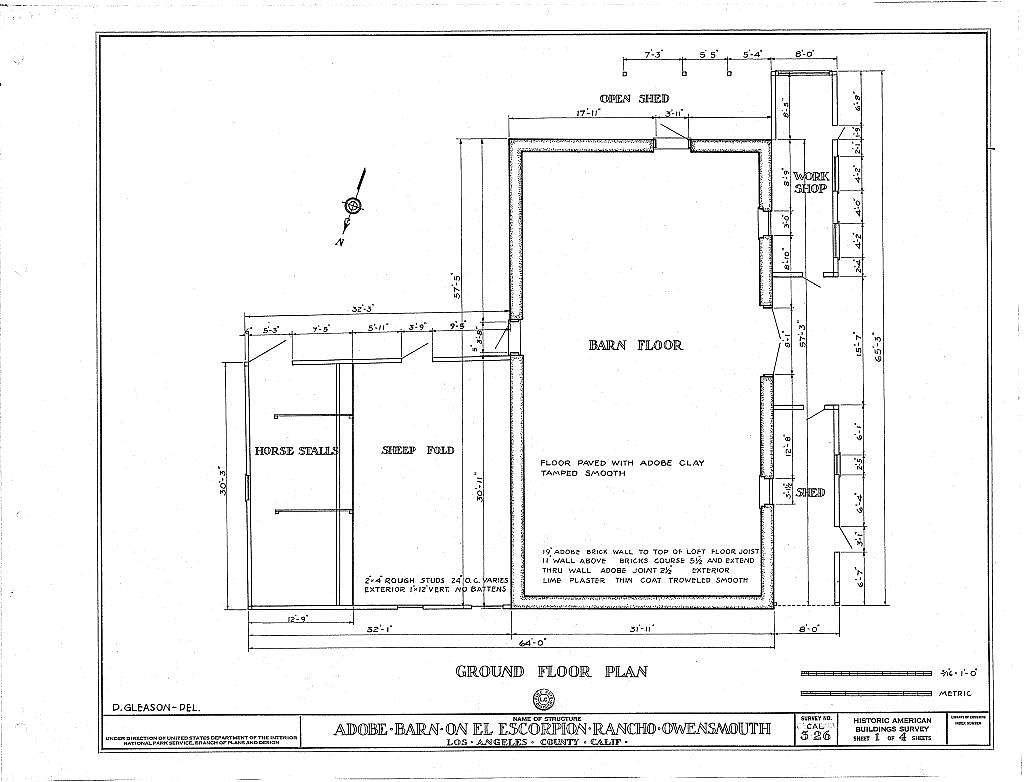 Adobe Barn del Rancho el Escorpion, 400 Muirfield Road, Owensmouth, Los Angeles, Los Angeles County, CA