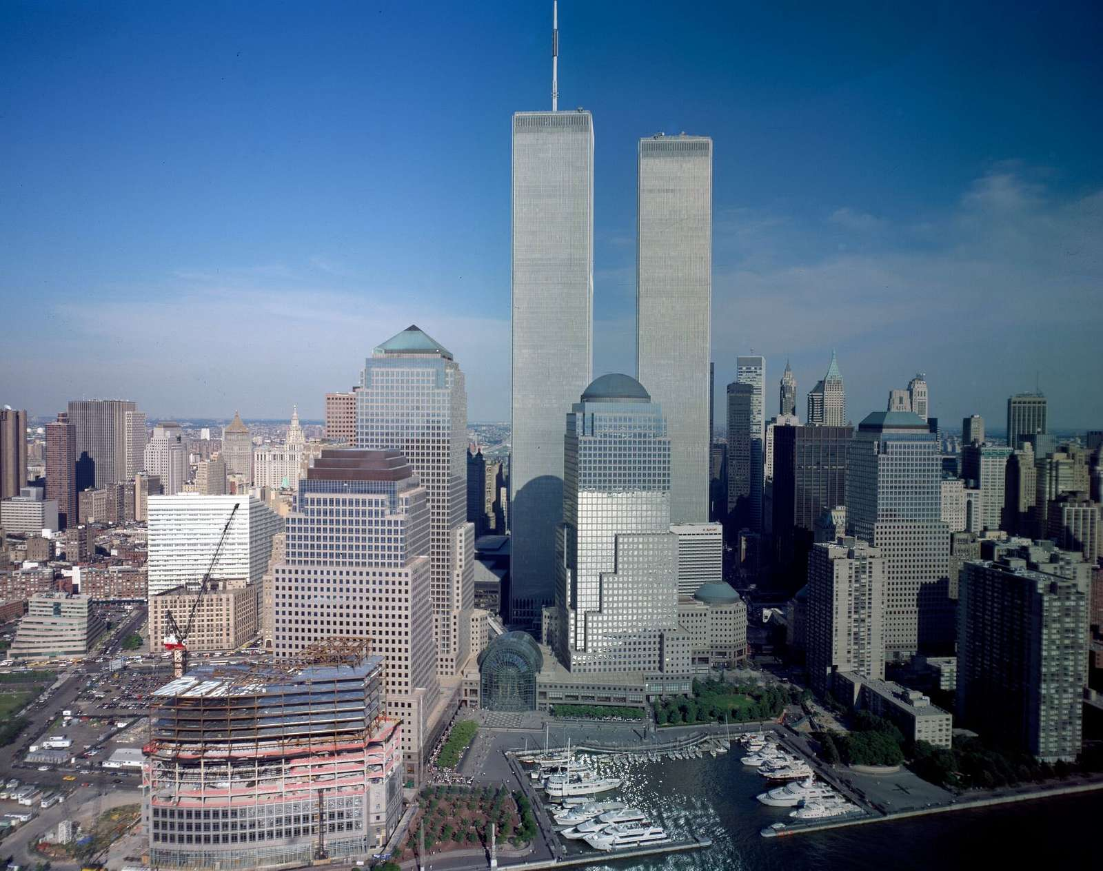 Aerial view of New York City, with Twin Towers of the World Trade Center visible