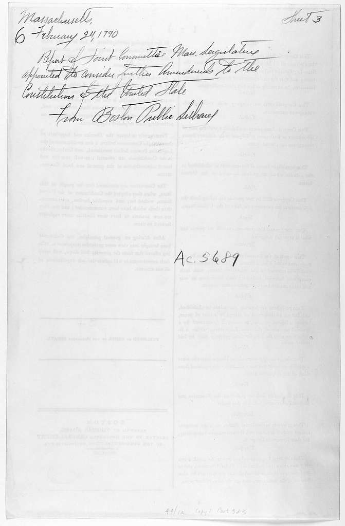 """Commonwealth of Massachusetts. In Senate, February 24, 1790. Ordered, that the clerk of the Senate, cause one hundred and ninety copies of the report of the committee appointed """"to consider what further amendments are necessary to be added to th"""