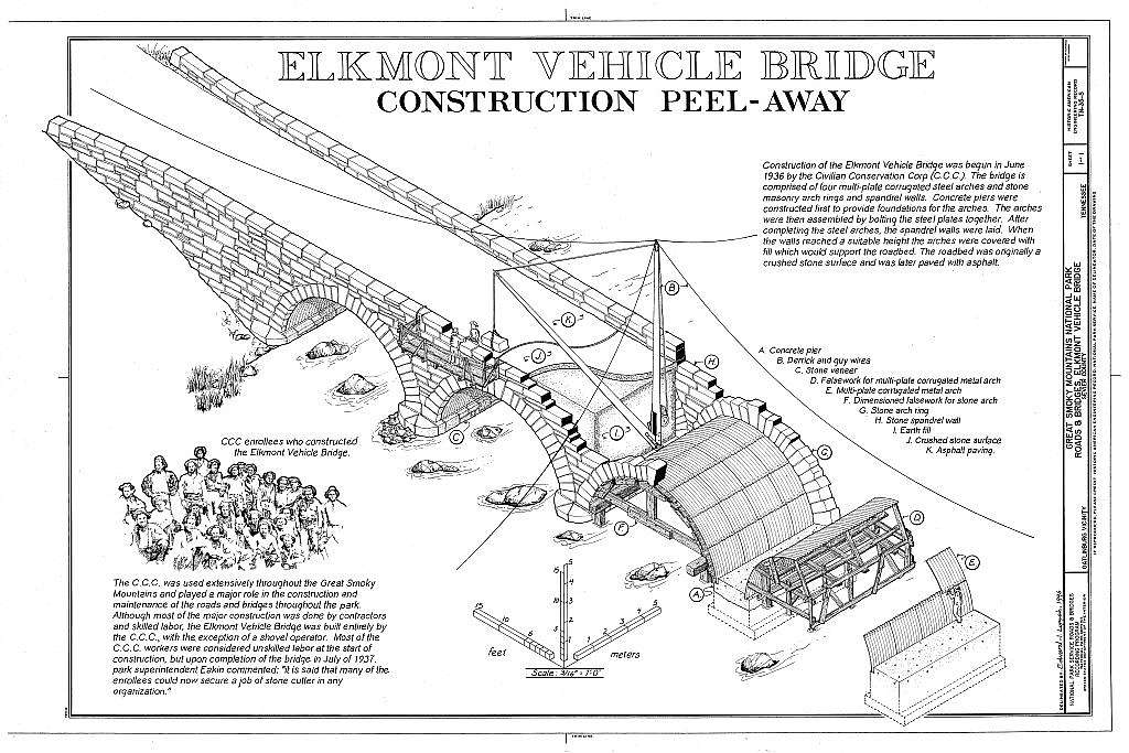 Great Smoky Mountains National Park Roads & Bridges, Elkmont Vehicle Bridge, Spanning Little River at Elkmont Campground, Gatlinburg, Sevier County, TN
