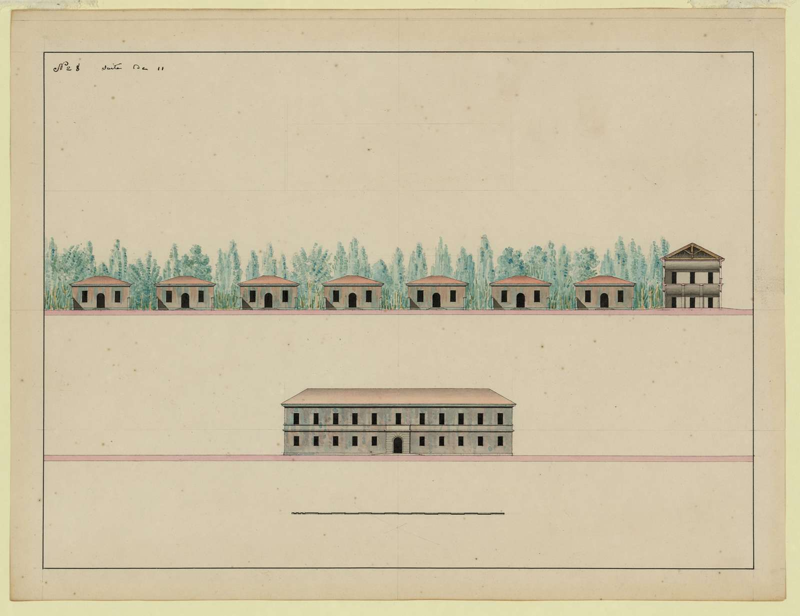 [Hunting lodge with pavilions]