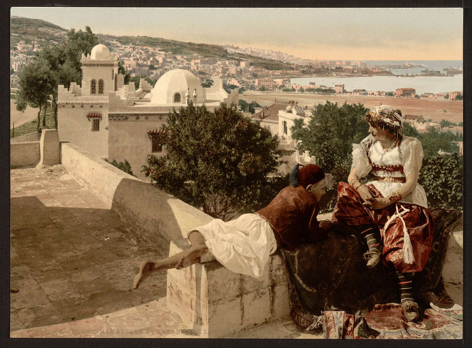 [Moorish woman and child on the terrace, I,  Algiers, Algeria]
