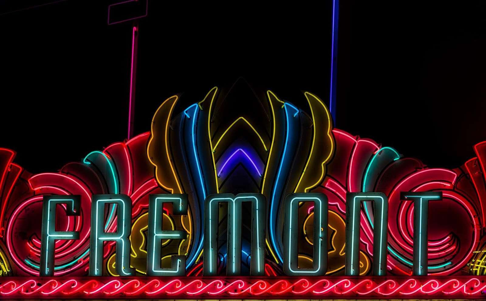 Neon marquee of the Fremont Theater in San Luis Obispo, California