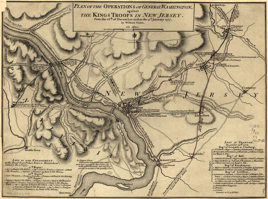 Plan of the operations of General Washington, against the Kings troops in New Jersey, from the 26th, of December, 1776, to the 3d. January 1777.