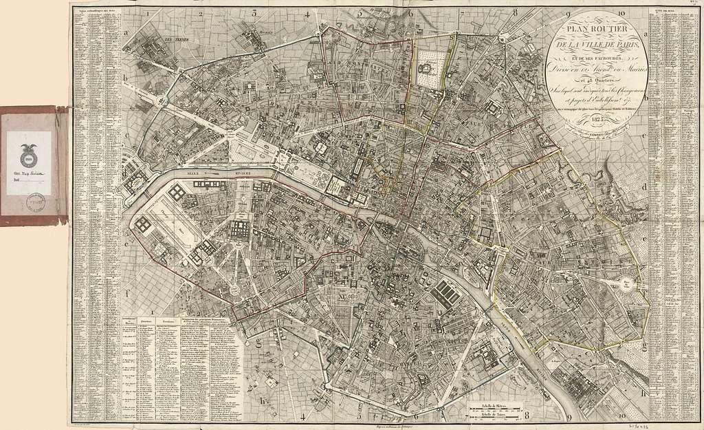 Plan routier de la ville de Paris et des ses faubourgs, divisé en 12 arrondts. ou mairies et 48 quartiers, sur lequel sont indiqués tous les changemens et projets d'embellissemt. etc. on y remarque de plus tous les principaux hotels et edifices /