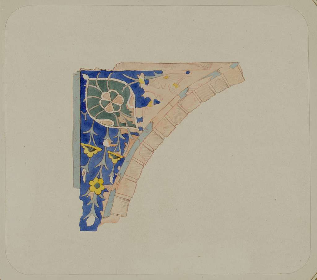 Samarkandskiia drevnosti. Grobnitsa sviatago Kussama ibni Abassa (Shakh-Zinde) i mavzolei pri nei. Mavzolei Aine-Khane (Emira Mussi). Otdielka uglovogo prostranstva nad oknom v sievernom fasadie