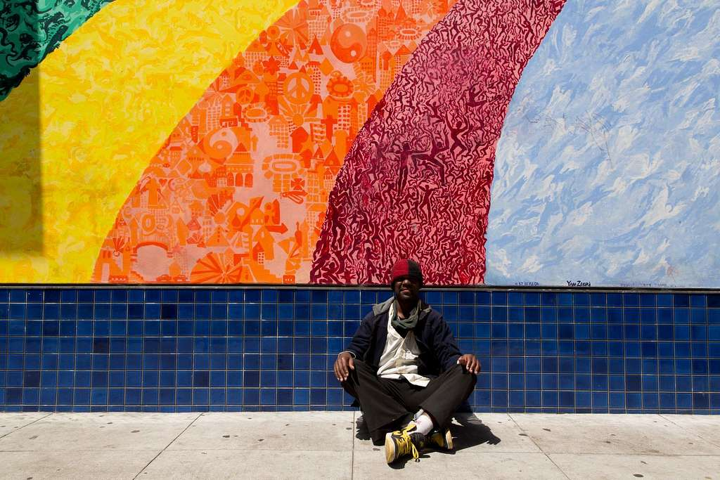[The Evolutionary Rainbow mural by Yana Zegri in the Haight-Ashbury neighborhood, San Francisco, California]