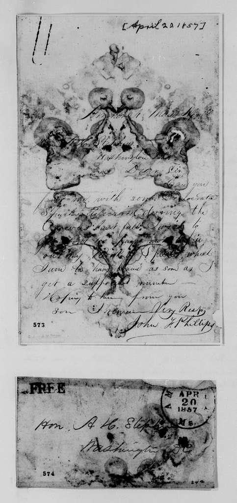 Alexander Hamilton Stephens Papers: General Correspondence, 1784-1886; 1855, Dec. 28-1857, Aug. 3