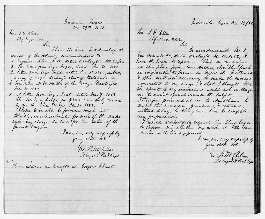 George Brinton McClellan Papers: Letterbooks and Telegram Books, 1852-1862; Letterbook, 1852, Nov. 16-1856, May 24