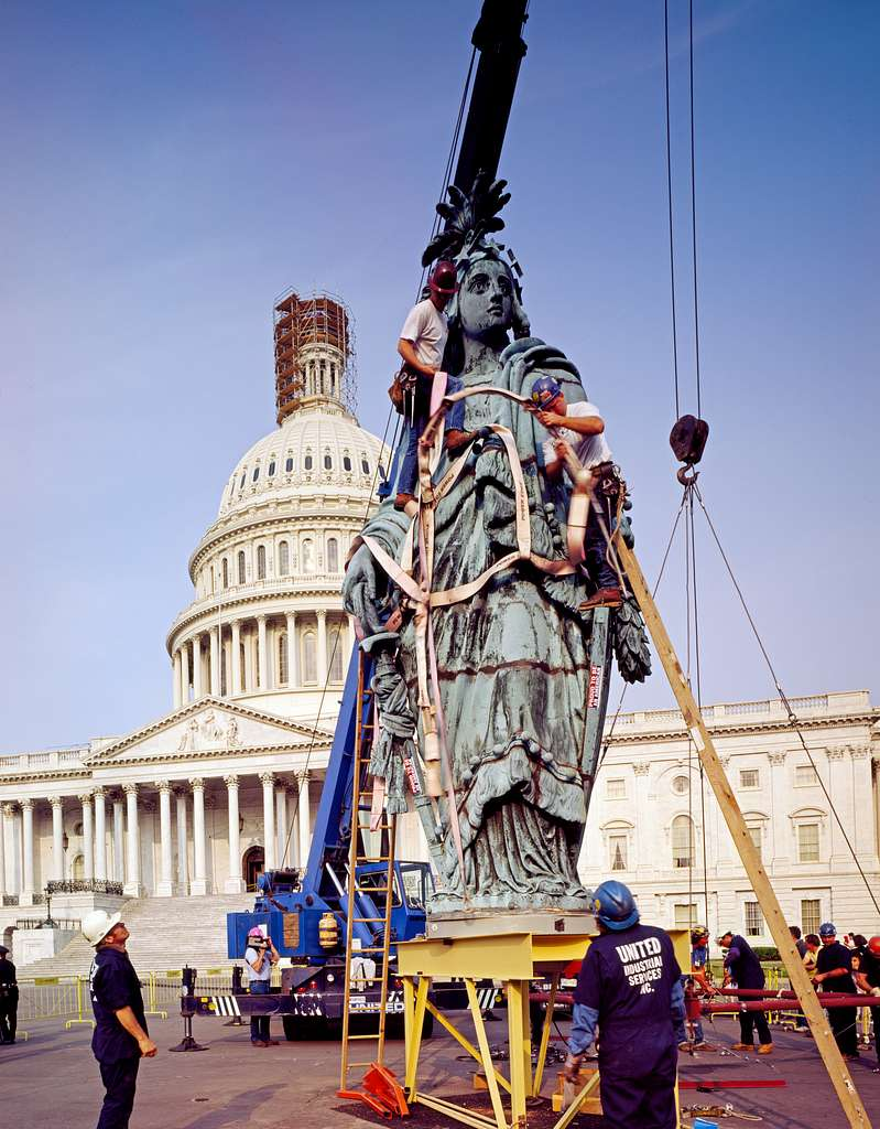 In 1993, Thomas Crawford's Statue of Freedom was lowered from atop the U.S. Capitol for renovation. Washington, D.C.