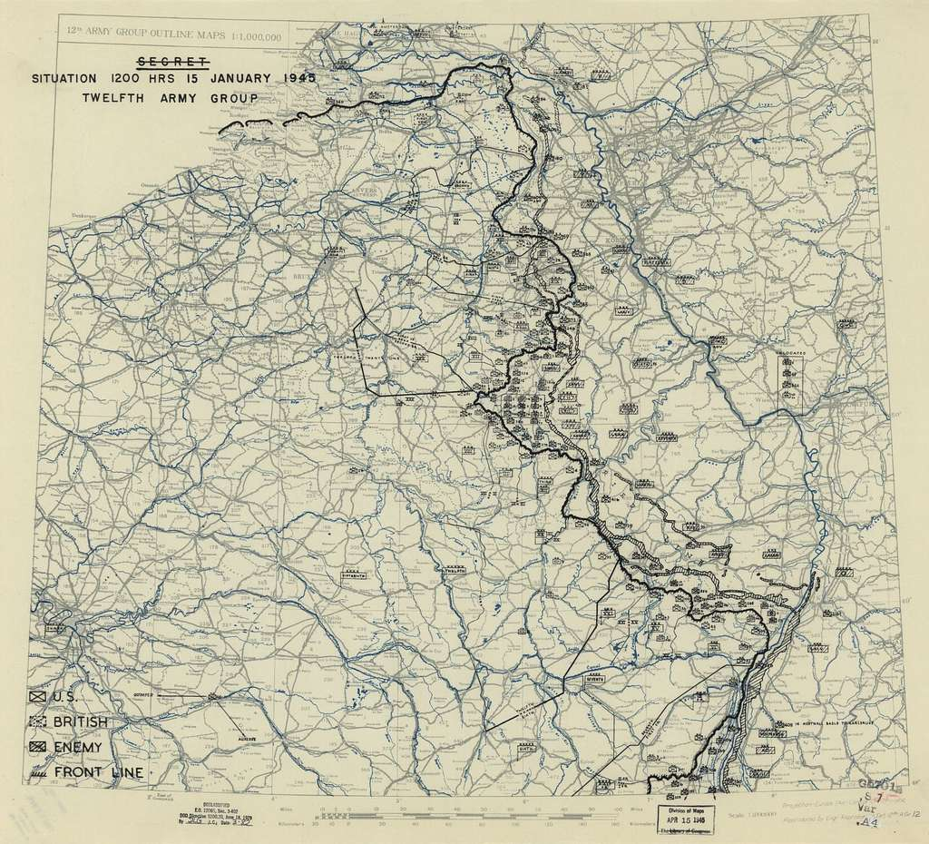 [January 15, 1945], HQ Twelfth Army Group situation map.