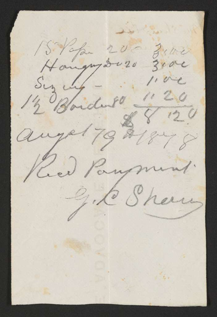 Joseph Holt Papers: Financial Papers, 1822-1894; Bills and receipts; 1878 (1 of 2)