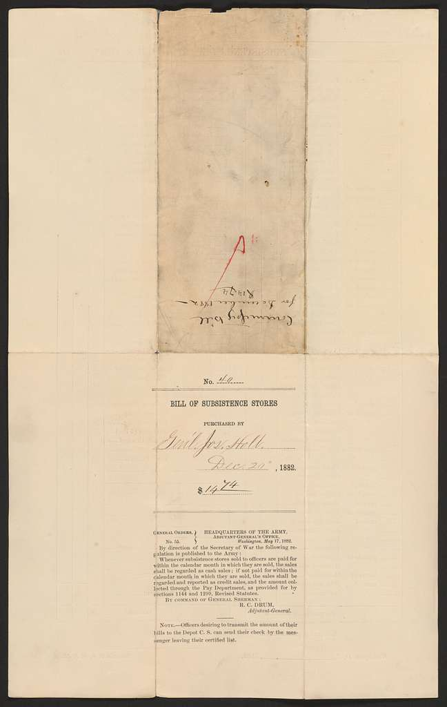 Joseph Holt Papers: Financial Papers, 1822-1894; Bills and receipts; 1882 (1 of 2)