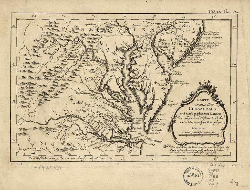 Karte von der Bay Chesapeack und den benachbarten Landen zur Allegemeinen Historie der Reisen aus den besten englændischen Karten gezogen.