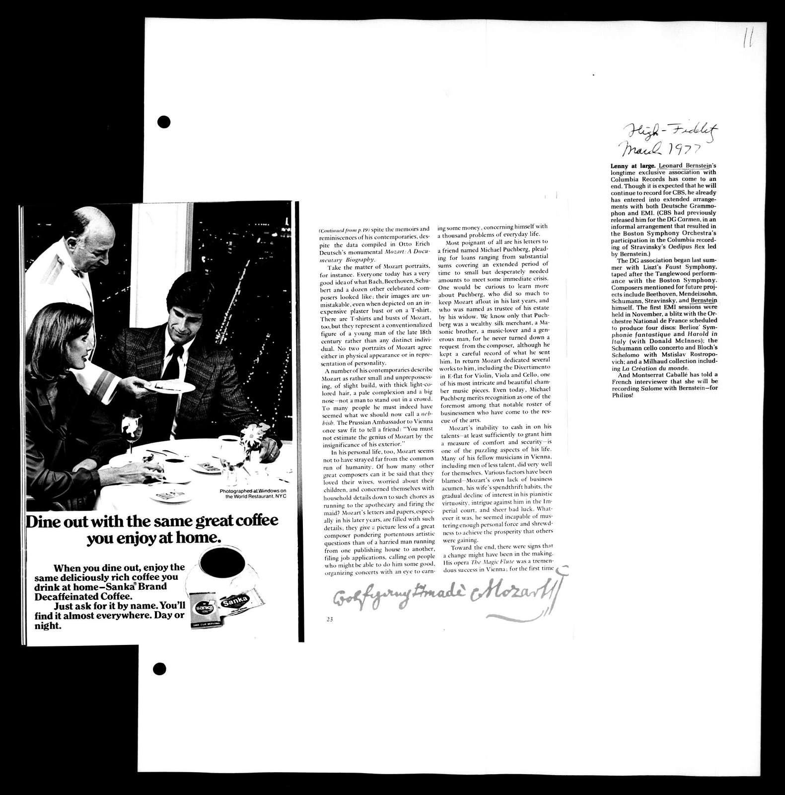 Leonard Bernstein Scrapbook: Vol. 88. Jan. 1, 1977-Oct. 3, 1977