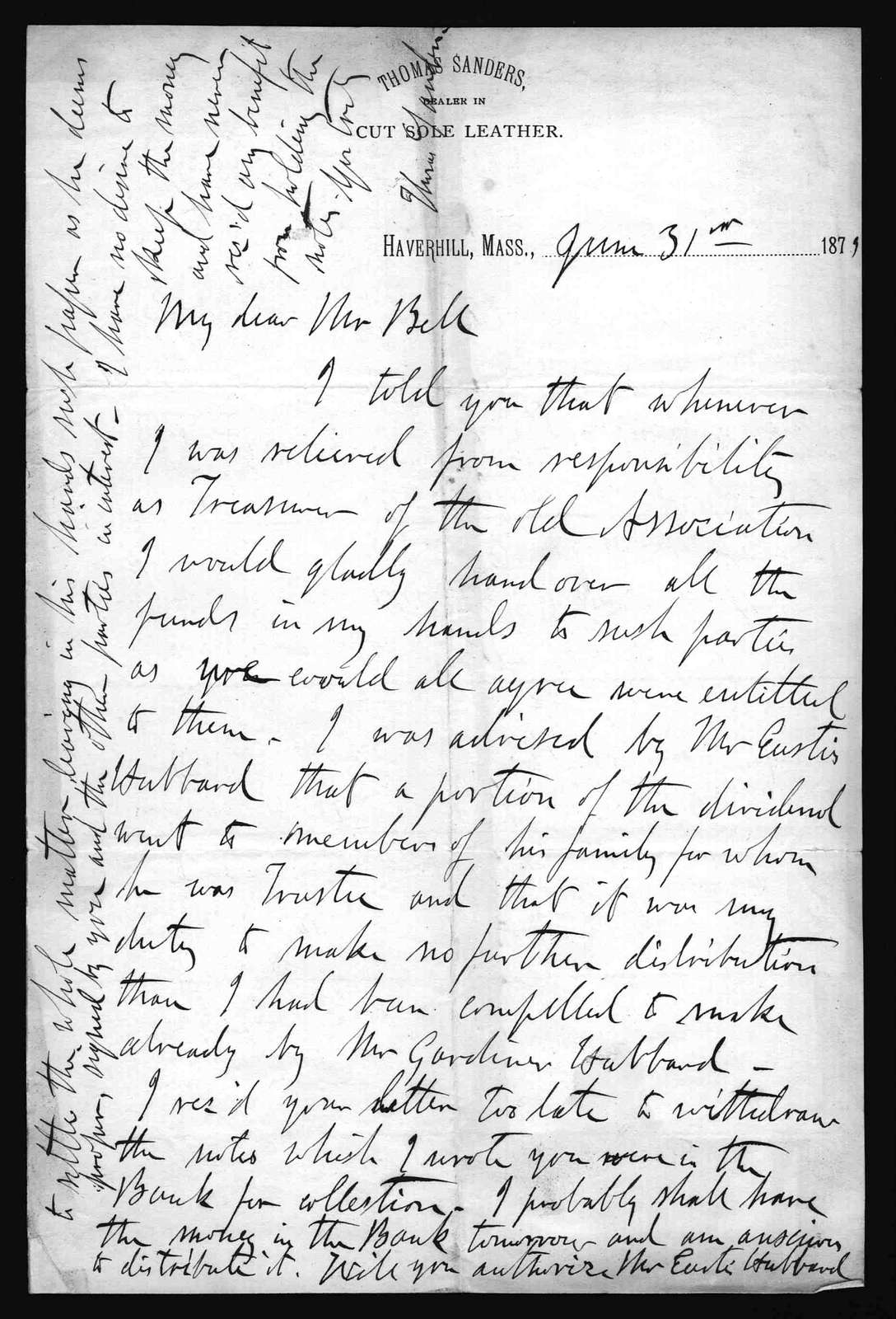 Letter from Thomas Sanders to Alexander Graham Bell, June 31, 1879