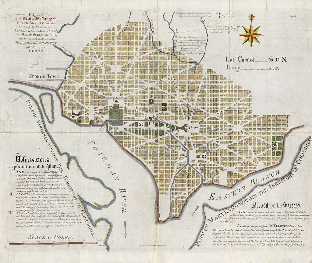 Plan of the city of Washington in the territory of Columbia : ceded by the states of Virginia and Maryland to the United States of America, and by them established as the seat of their government after the year MDCCC /