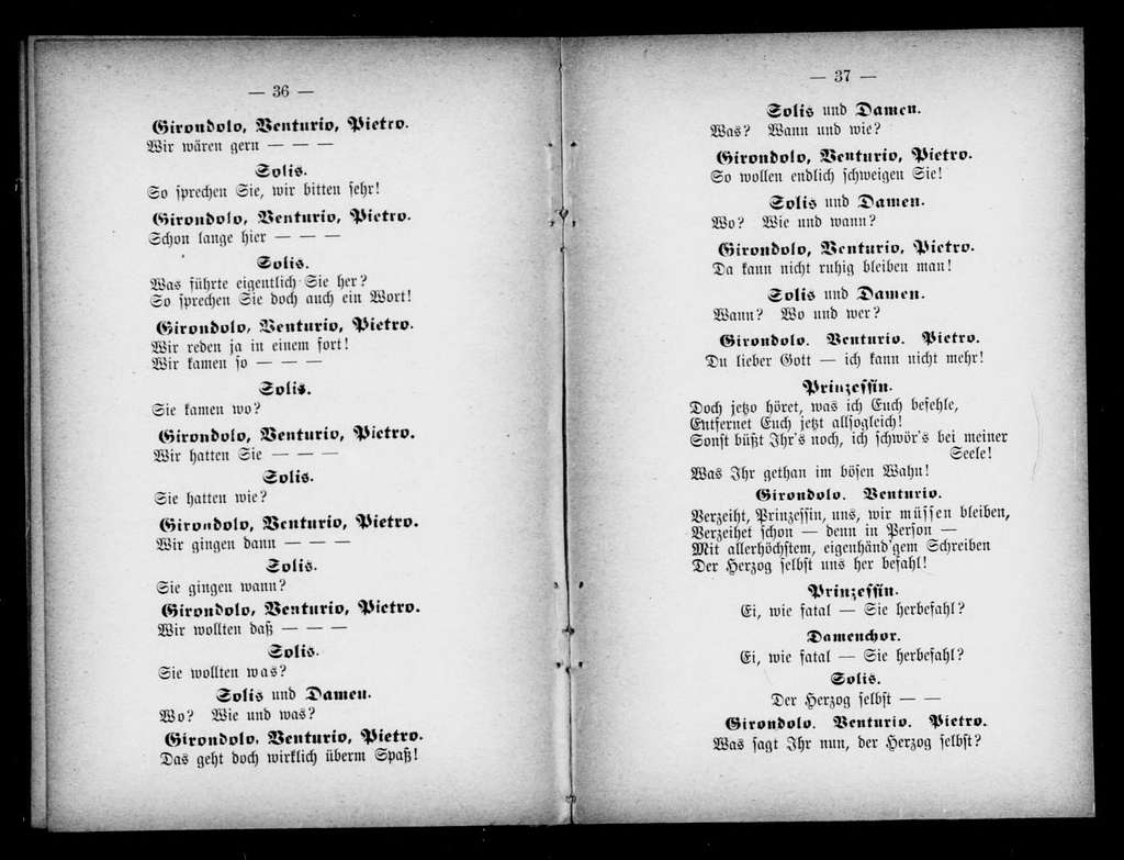 Schloss Calliano. Libretto. German