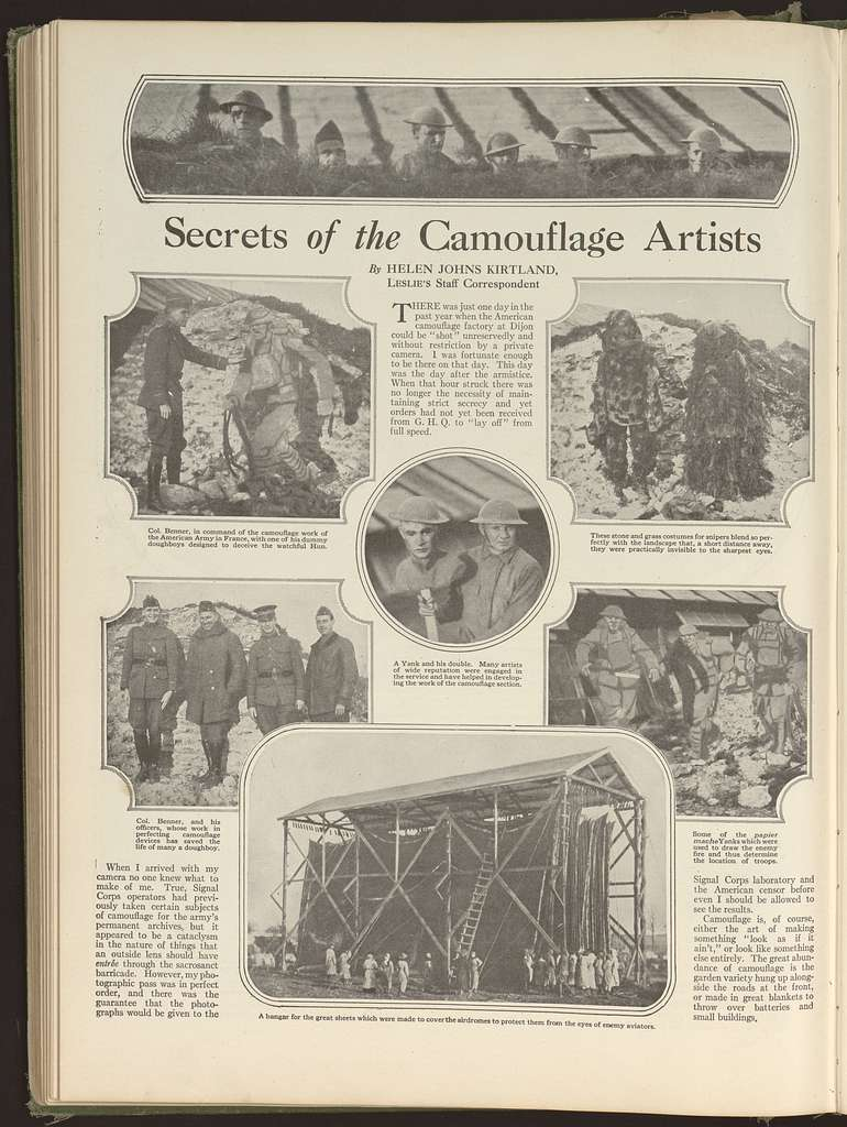 Secrets of the camouflage artists / by Helen Johns Kirtland, Leslie's staff correspondent.