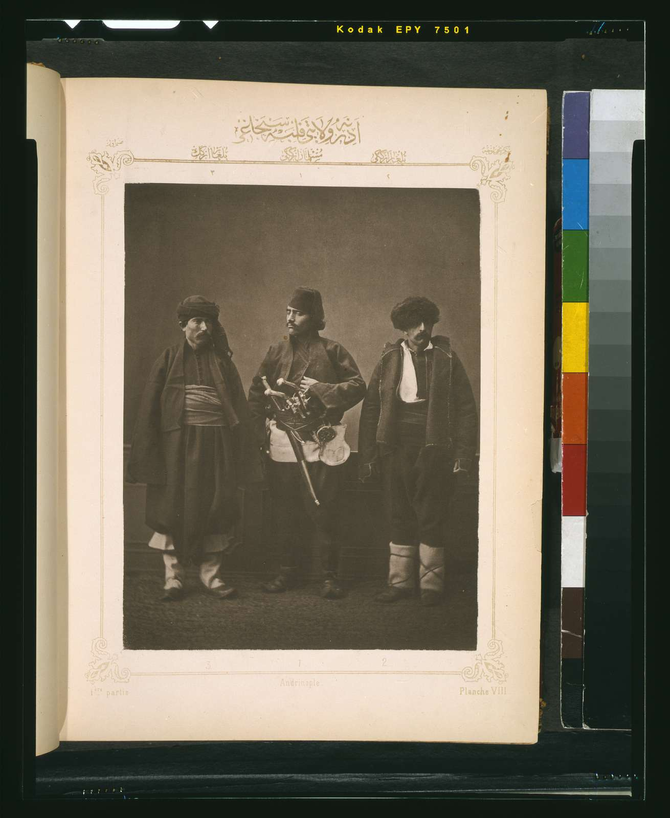 [Studio portrait of models wearing traditional clothing from the province of Andrinople (Edirne), Ottoman Empire]