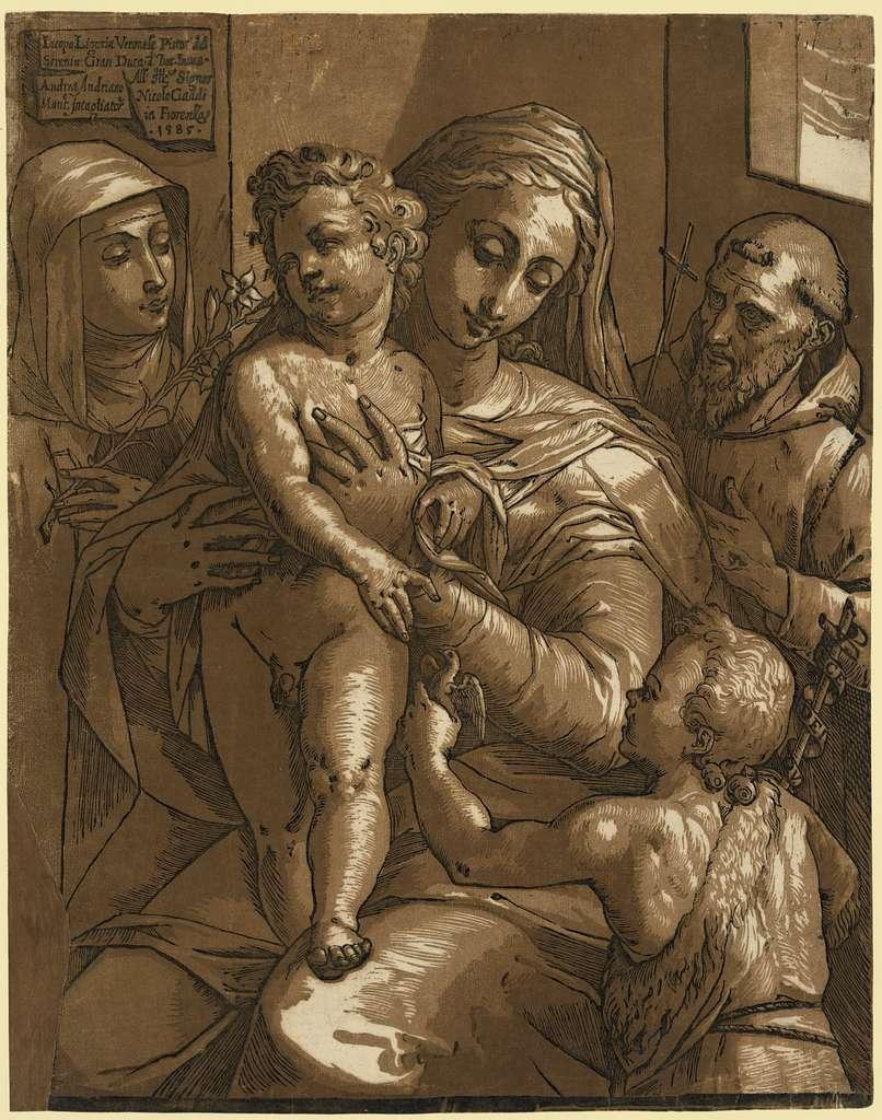 The Virgin, Child, and saints / Iacopo Ligozia Veronese pittore del Sereniss [...]; Andrea Andriano Mant. intagliatore 1585.