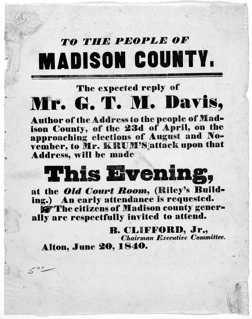 To the people of Madison County. The expected reply of Mr. G. T. M. Davis author of the address to the people of Madison County, of the 23d of April, on the approaching elections of August and November, to Mr. Krum's attack upon that address, wi