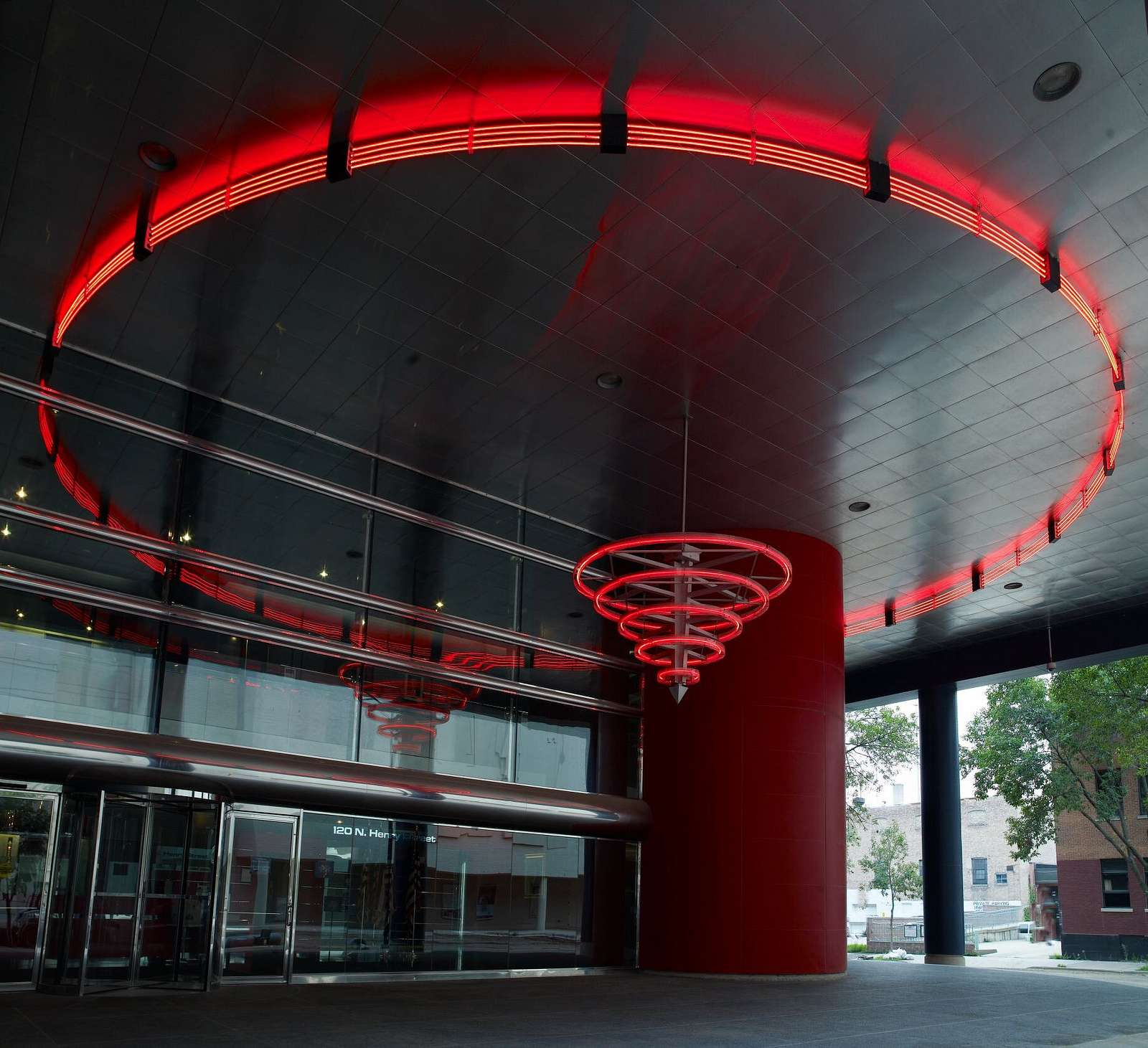 Untitled neon sculpture with stainless steel ceiling, located at exterior of U.S. Courthouse, Madison, Wisconsin