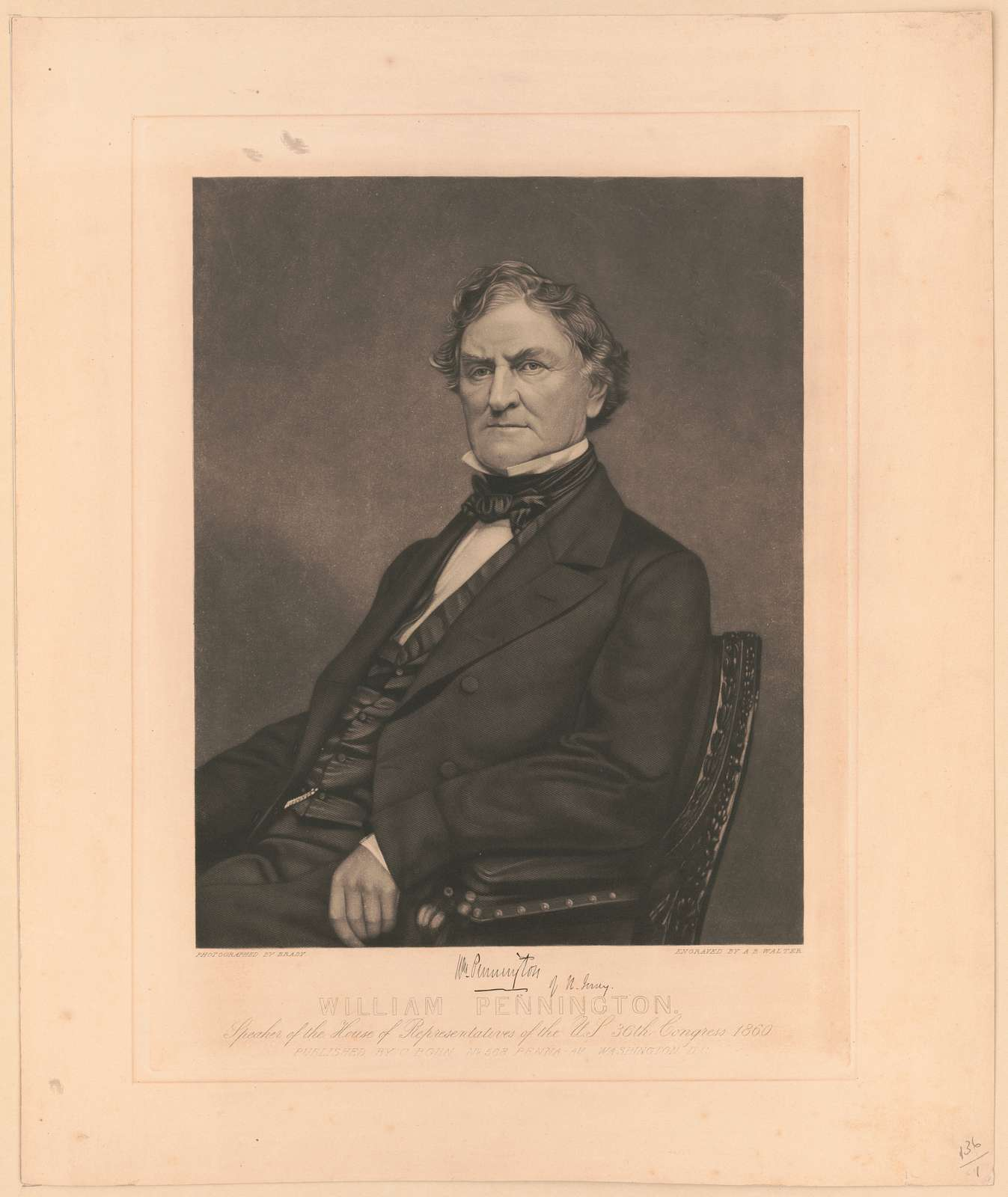 William Pennington. Speaker of the House of Representatives of the U.S. 36th Congress 1860 / photographed by Brady ; engraved by A.B. Walter.