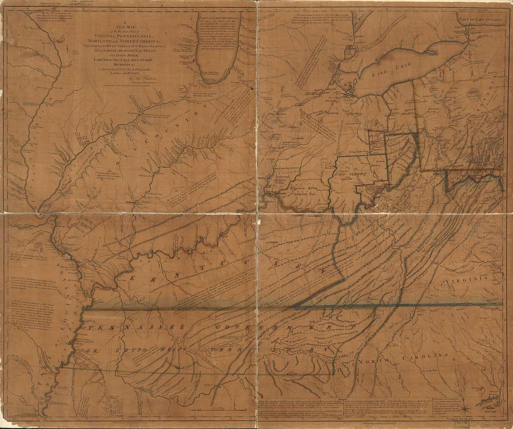 A new map of the western parts of Virginia, Pennsylvania, Maryland and North Carolina; comprehending the river Ohio, and all the rivers, which fall into it; part of the river Mississippi, the whole of the Illinois River, Lake Erie; part of the lakes Huron, Michigan &c. and all the country bordering on these lakes and rivers.