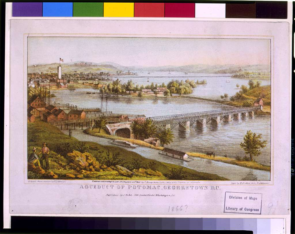 Aqueduct of Potomac, Georgetown, D.C. / drawn from nature by F. Dielman ; lith. by E. Sachse & Co., Baltimore.