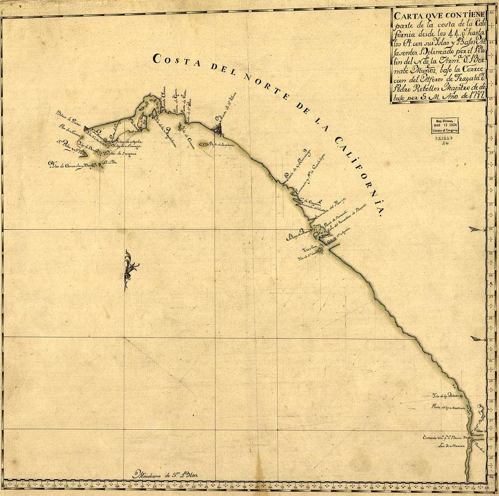 Carta que contiene parte de la costa de la California.