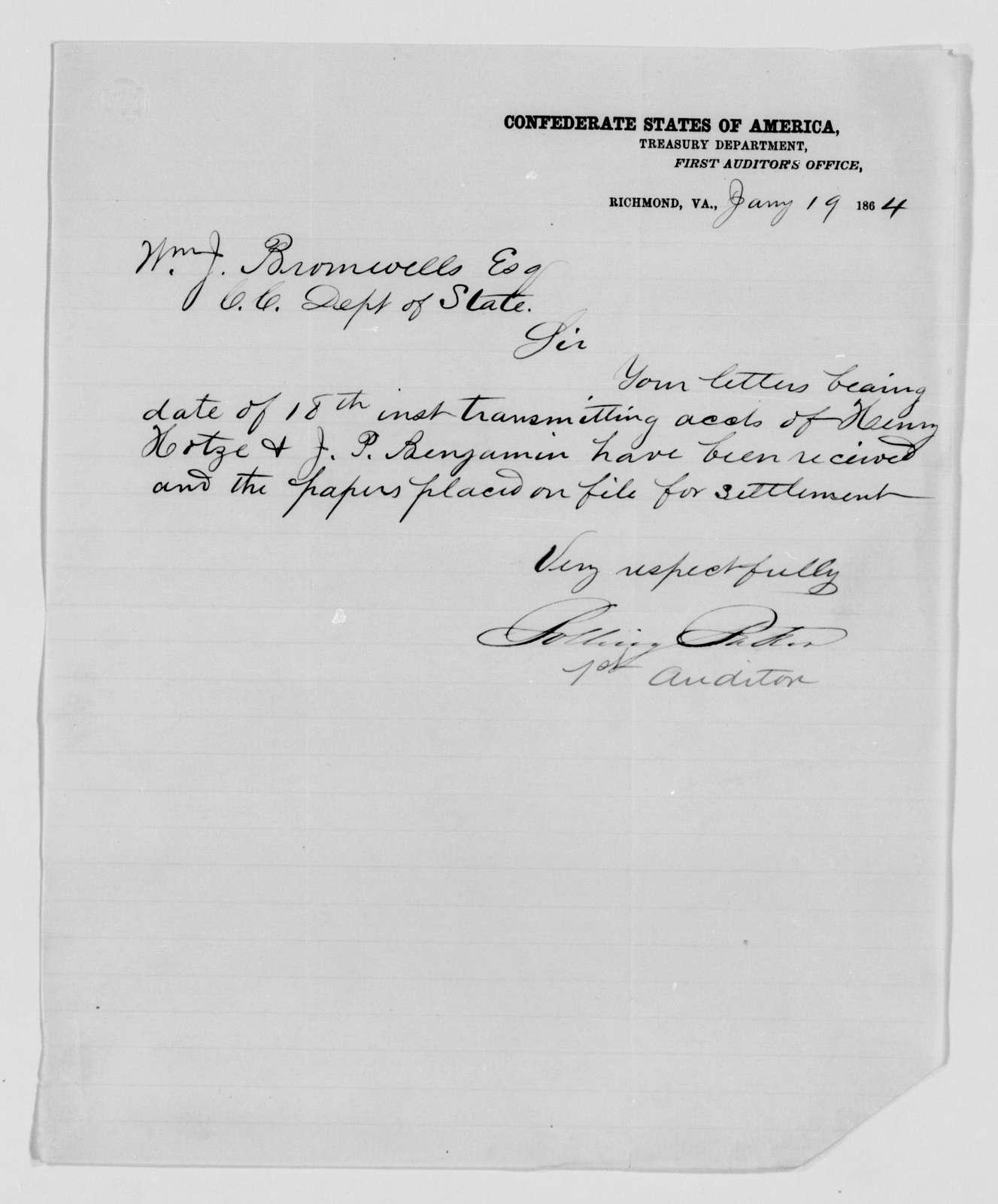 Confederate States of America records: Microfilm Reel 17