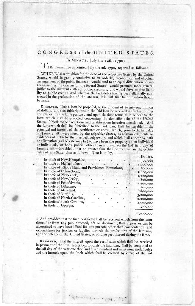 Congress of the United States. In Senate, July the12 th, 1790. The committee appointed July the 2d, 1790, reported as follows ... [Philadelphia] Printed by John Fenno [1790].