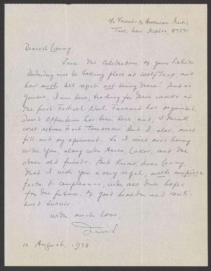 David Diamond to Leonard Bernstein, August 10, 1978