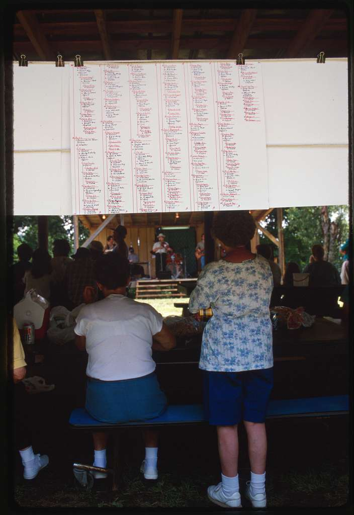 Genealogy sheets frame the picnic shelter where the Stanley Heirs Reunion takes place