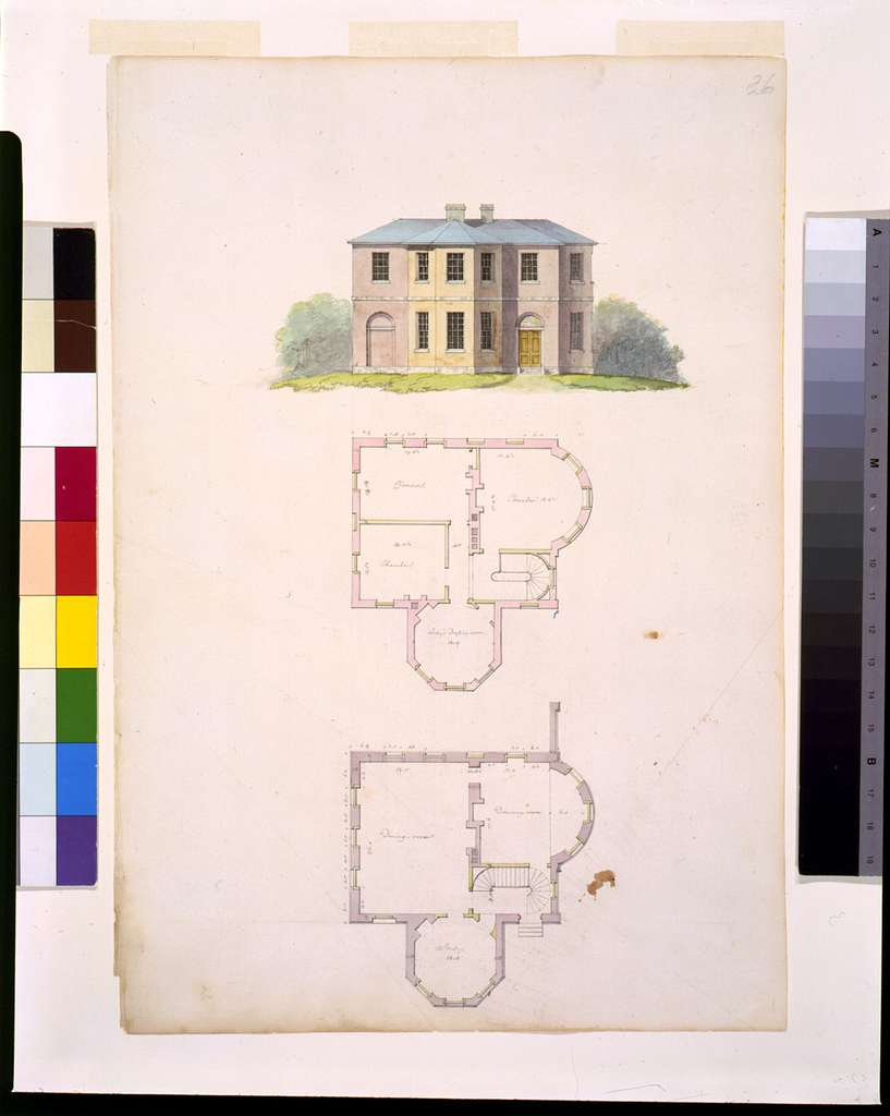 """[Houses and a church (""""Buildings Erected or Proposed to be Built in Virginia""""). Front elevation and floor plans]"""
