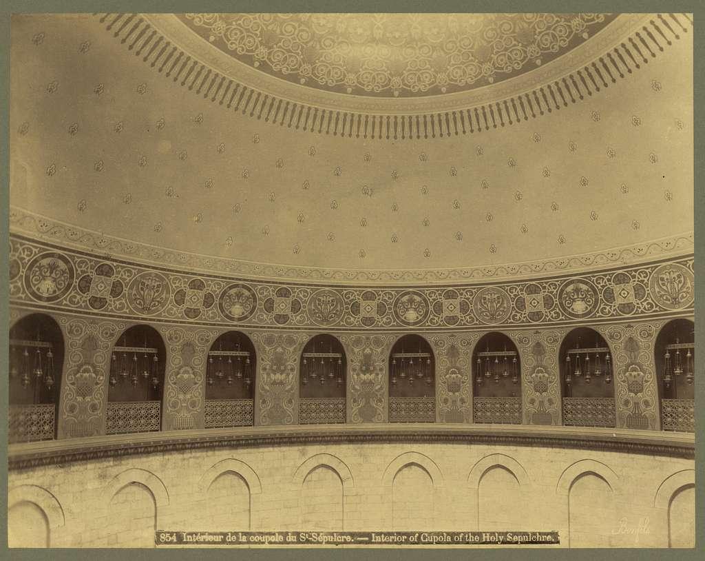 Intérieur de la coupola du St. Sépulcre Interior of cupola of the Holy Sepulchre / / Bonfils.